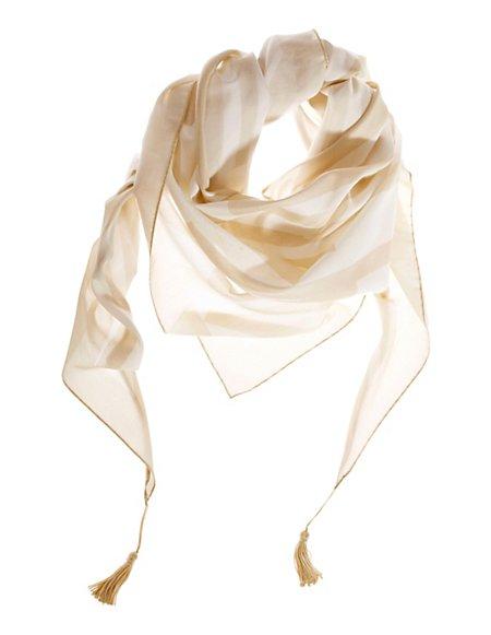 MADELEINE Zijde Driehoekige sjaal Dames wolwit/zand / lichtblauw