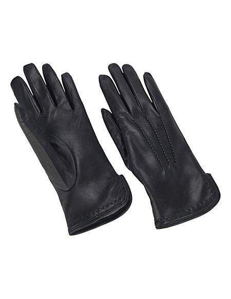 MADELEINE Leder-Handschuhe mit Wollfutter Damen schwarz