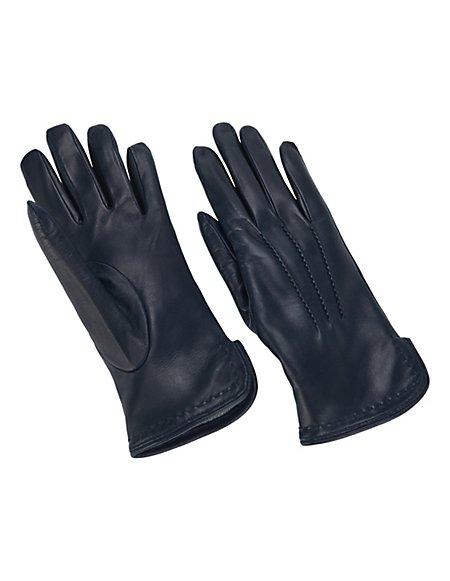 MADELEINE Leder-Handschuhe mit Wollfutter Damen marine / blau