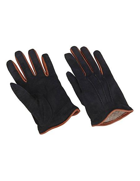 MADELEINE Handschuhe aus Velours-Leder mit Wollfutter Damen schwarz/cognac / hellbraun