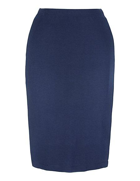 Bild MADELEINE  Enger Jerseyrock mit Kontraststreifen in N-Grössen und in K-Grössen Damen marine/weiss / blau