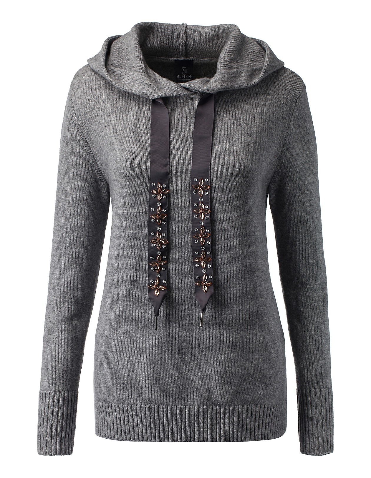 Strickpullover im lässigen Sweatshirt Stil, graumelange, grau