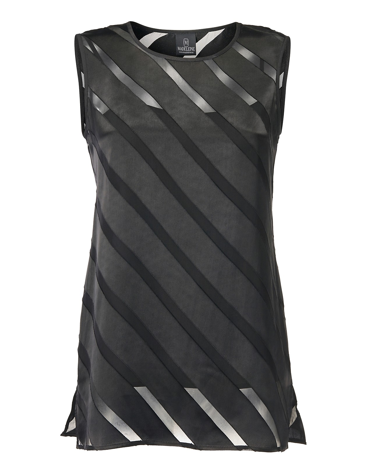quality design b56c2 8751f Ärmellose Bluse mit Ausbrenner-Muster, schwarz, schwarz ...