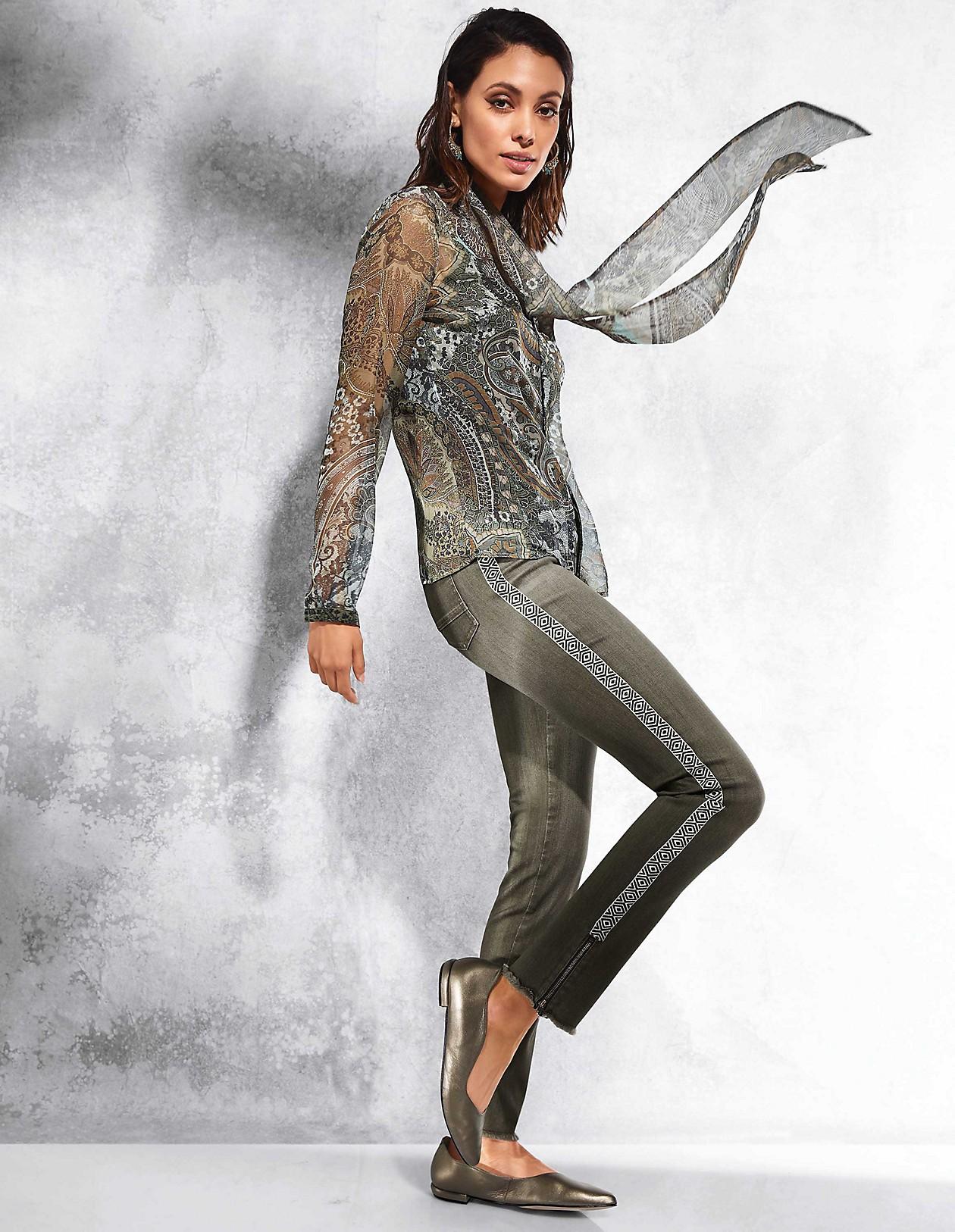 Transparente Druck Bluse mit Schluppe, khakimulticolor
