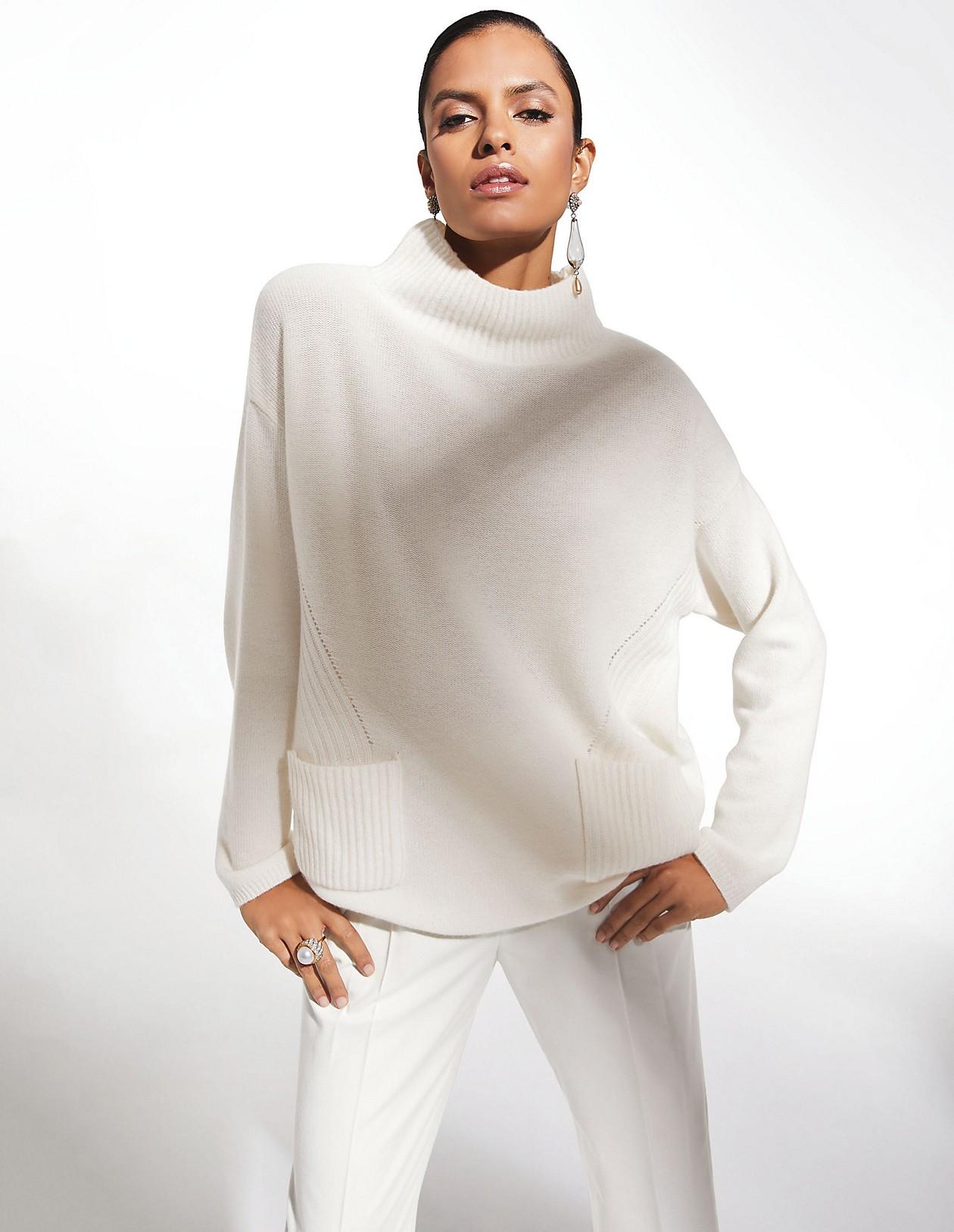bf2be35940e260 Kaschmir-Pullover mit Stehkragen, wollweiß, weiß   MADELEINE Mode
