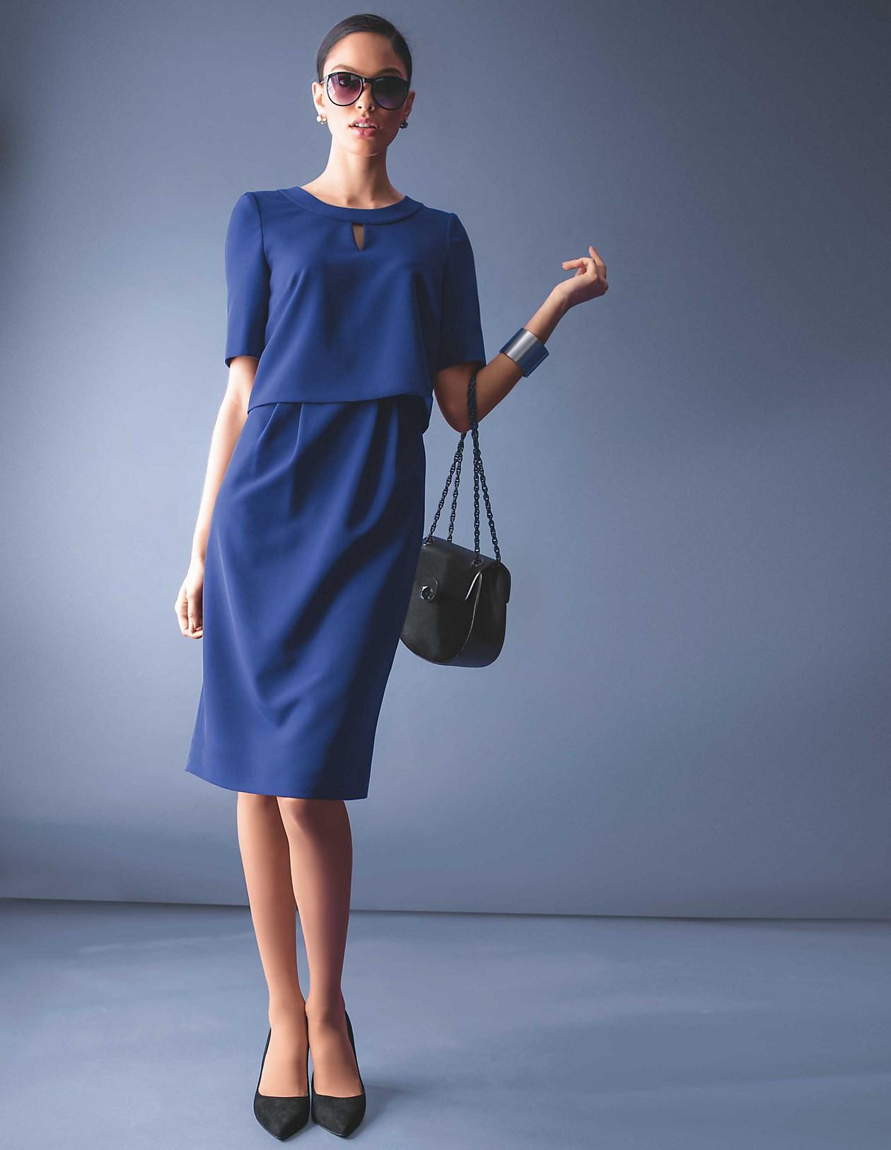 new product da6e5 4c74c Kleid im Layer-Look, tintenblau, blau | MADELEINE Mode