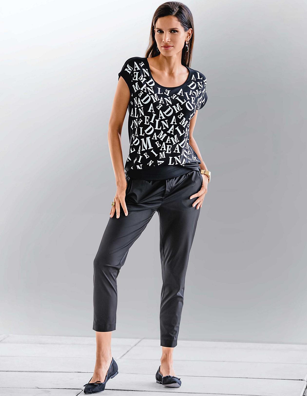 the best attitude 7dd4f 687c0 Ärmelloses Shirt mit Print und Strass-Dekoration, schwarz ...